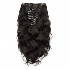 Black Body Wave 120g 10pcs Clip in Extension Human Hair Dark Brown 4#