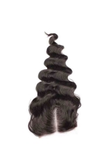 Loose Wave Malaysian Virgin Hair Middle Part Lace Closure 4x4inches Natural Color