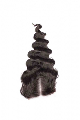 Loose Wave Top Lace Closure Bleached Knots 4*4 130 Density Black Malaysian Hair