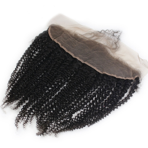 Mongolian Kinky Curly Hair Lace Frontal Closure 13x4 Ear To Ear Full Frontal With Baby Hair Afro Kinky Curly Lace Frontals