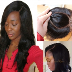 4x4 Body Wave 2 Curved O Part Lace Closure With Bleached Knot 7A Grade 100% Unprocessed Malaysian Virgin Human Hair