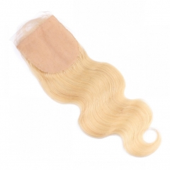 613 Silk Base Closure Hidden Knots 4x4 Blonde Silk Closure with Baby Hair Body Wave Hair Pieces Free Part