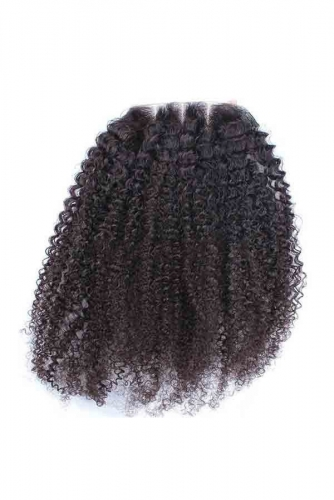 Indian Hair Afro Kinky Curly Free Part Lace Closure 4x4 inchs Natural Color