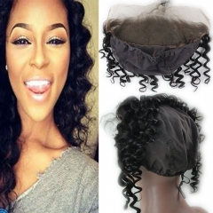 New Style 13x4 Loose Curly Lace Frontal With Stretch Cap For Making Wigs Black Color Virgin Brazilian Hair
