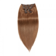 120g 10pcs Clip In Human Hair Extensions Silky Straight Brazalian Virgin Hair 8# Color