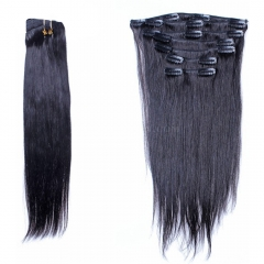 Clip In Human Hair Extensions Silky Straight Indian Remy Hair Natural Color