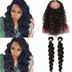 360 Lace Frontal Closure With 2 Bundles Loose Wave Brazilian Virgin Hair 360 Lace Band
