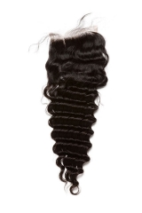 Mongolian Human Hair Deep Wave Free Part Lace Closure 4x4 Natural Color