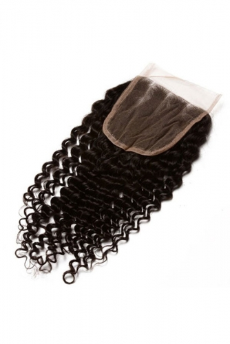 Cheap Kinky Curly Free Part 4x4 Lace Closure Hairpiece Natural Black