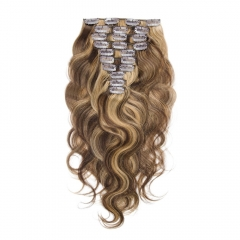 Blonde 160g 10pcs Clip in Real Human Hair Extension Body Wave Highlight Color