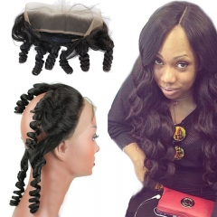 13x2 Human Hair Loose Wave 360 Lace Frontal Closure Band With Adjust Strap Natural Hairline