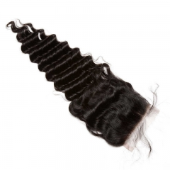 Brazilian Hair Weave 3 Bundles with Free Part Lace Closure Deep Wave Natural Color