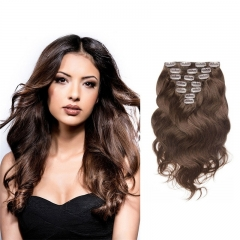 70g 7pcs Clip in Real Hair Extension Body Wave Indian Remy Hair 4# Color