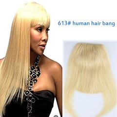 #613 Blonde Color Brazilian Human Hair Clip-in Hair Bang Full Fringe Short Straight Hair Extension for women 6-8inch