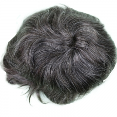 Men Toupee 10x8inch Mono base with PU around Full Head Men's Wig 13cm Real Human Hair