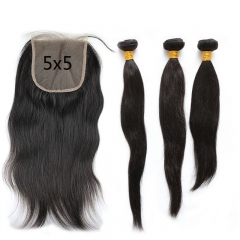 Silky Straight 3Bundles With Lace Closure  cheap 5x5 Peruvian Human Hair Natural Color