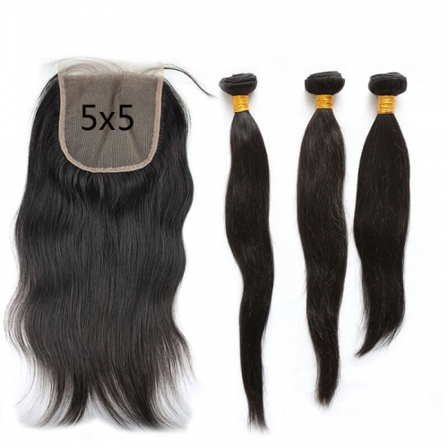 5X5 Transparent Invisible Hd Lace Thinner Lace Closure Silky Straight 3Bundles With Lace Closure  HD 5x5 Peruvian Human Hair Natural Color