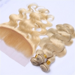 #613 Blonde 13x4 Lace Frontal With 3 Bundles Brazilian Body Wave Virgin Human Hair 4Pcs Lot
