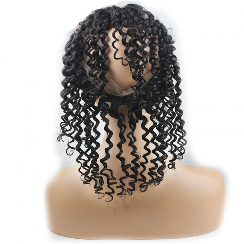8A Grade 360 Lace Frontal Band Closure Pre Plucked 22.5x4x2inch Mongolian Virgin hair Curly 360 Lace Band Frontals with Baby Hair