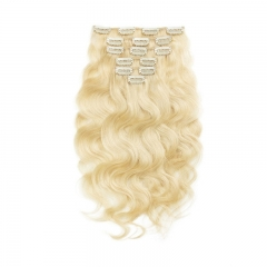 70g 7 pcs Body Wave Hair Clip in Platinum Blonde Color Virgin Hair