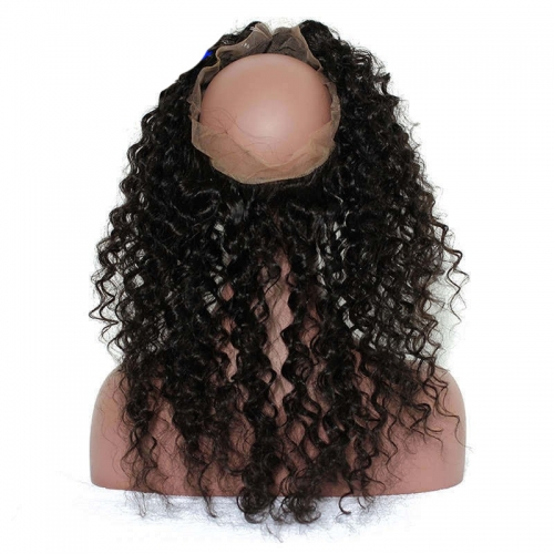 Deep Wave 360 Lace Frontal Closure Pre Plucked Brazilian Virgin Hair Lace Frontal Natural Hairline 22.5*4*2