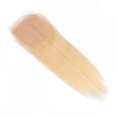 613# Blonde Silk Base Closure Virgin Brazilian Hair Straight Free Part 4x4 Lace Closure