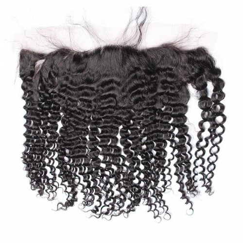 Kinky Curly Lace frontal Closure 13x4 with Baby Hair Natural Color Brazilian Hair