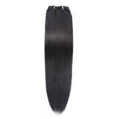 Light Brown 100g 7pcs Clip In Human Hair Extensions Straight Natural Color