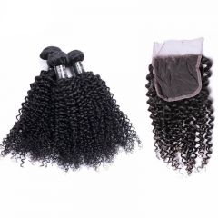 7A Unprocessed Mongolian Kinky Curly Virgin Hair With Closure Bleached Knots Lace Closure With Bundles In Stock