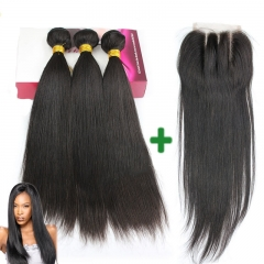 Free Shipping Wholesale Brazilian Virgin Hair Straight 1pc Lace Closure Bleached Knots With Human Hair Bundle 3pcs Weave