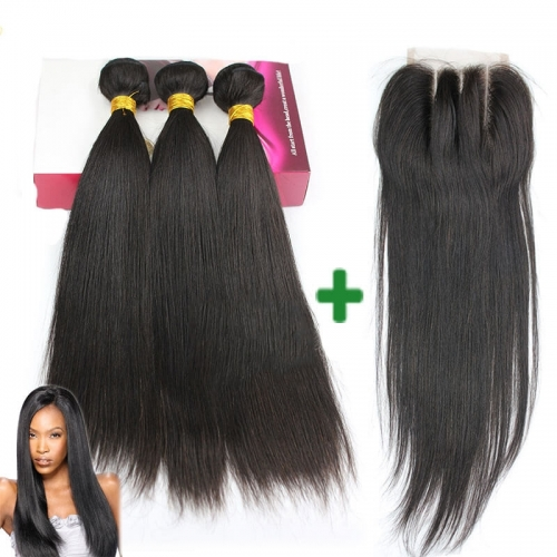 Brazilian Straight Weft With Swiss Lace Closure 3 Bundles Human Hair Unprocessed Hair Extensions Natural Color
