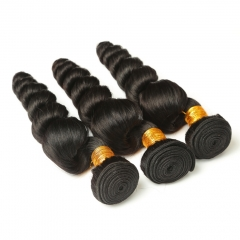 8A Virgin Hair Bouncy Curl Cheap Unprocessed Hair 3 Bundles Loose Wave Peruvian Virgin Hair Weave 3 Pc Lot