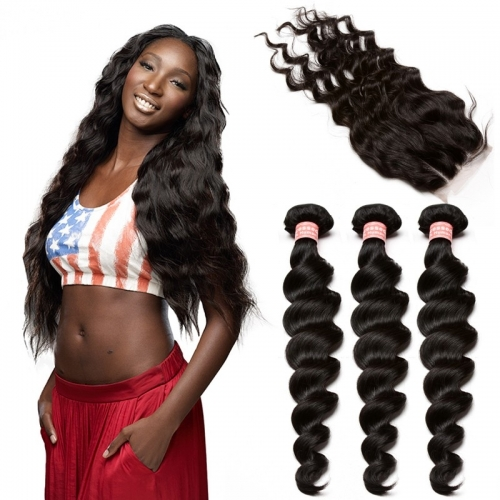 Brazilian Loose Wave 3 Bundles With Closure Hair With 4*4 Lace Closure