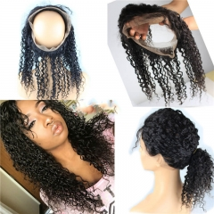 8A Grade 360 Lace Frontal Closure 22.5x4x2inch Brazilian Virgin hair Water Wave 360 Lace Band  In Stock