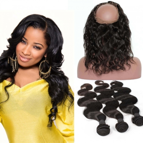 360 Frontal Closure With 3 Bundles Body Wave Brazilian Virgin Hair 360 Lace Band with Cap