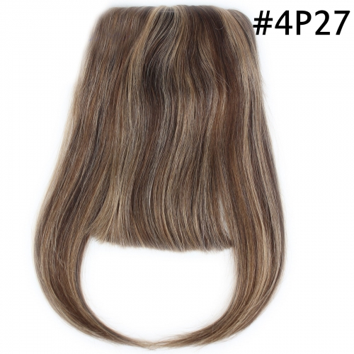 100% Human Hair Bangs Extensions Straight  European Hair Machine Weft with Combs Hair bangs Clip-in Full Fringe 6-8inch