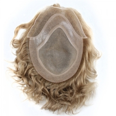 Blonde Toupee Hairpiece Human Hair Toupee Wig Super Thin Skin Hair Replacement (#21 Ash Blonde)