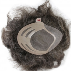 Grey Toupee 10×8 inch Human Hair 5# Mix 10% Grey Hair Thin Skin Hairpiece Hair Replacement System Mono Net Base for Men