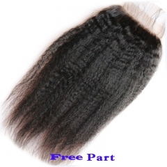 Hotsale Kinky Straight Lace Closure 4x4inch 100% Virgin Brazilian Hair Lace Top Closure Kinky Straight