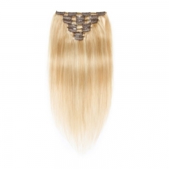 70g 7pcs Clip In Human Hair Extensions Silky Straight Brazalian Virgin Hair Highlight