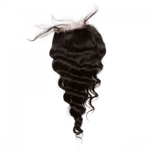 4x4 Lace Frontal Closure Loose Wave Remy Human Hair Extension Fast Ship