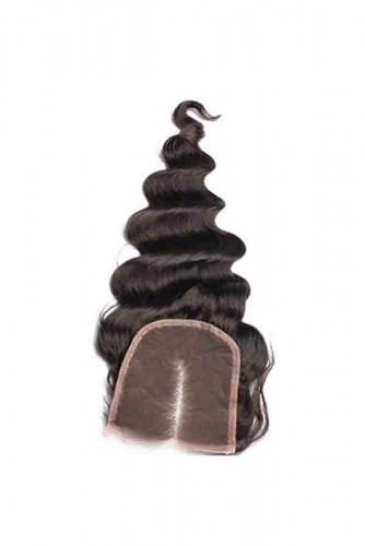 Loose Wave Middle Part 4x4 Lace Closure Unprocessed Natural Black Color