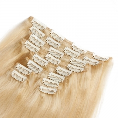 613# Blonde Double Weft Clip in Extension 10 pcs Blonde Color Peruvian Hair 120g 27#