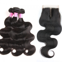 Hotsale Malaysian Virgin Hair 3 Bundles Weave With 1 Piece 4X4 Lace Closure Body Wave Free Shipping 4Pcs/Lot