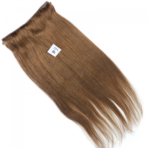 Flip Hair Extension 7A Unprocessed Mongolian Virgin Hair 6# Medium Brown Flip Hair Extension 100 Human Hair Straight 100g/pc 6# Color