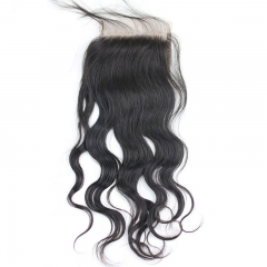 7A Grade Wet And Wavy Brazilian Remy Hair Lace Closure Bleached Knots Brazillian Natural Water Wave Closure 4X4