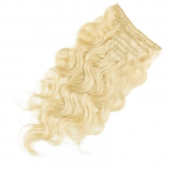 70g 7 pcs Body Wave Best Hair Clip in Indian Remy Human Hair Extension 60# 613# Color