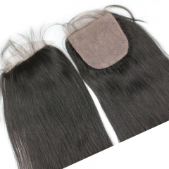 Cheap Silk Base Lace Closure Malaysian Virgin Hair 4X4 Natural Straight 3 Part Middle Or Free Part Natural Color