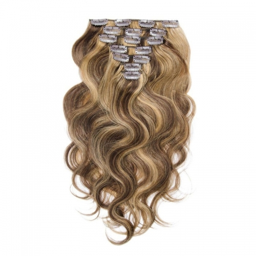 Body Wave 70g 7pcs Clip in Extension Blonde Highlight Color Virgin Hair