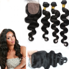 Free Shipping Virgin Peruvian Silk Base Closure With Bundles Body Wave 7A Virgin Human Hair Bundles With Silk Closure